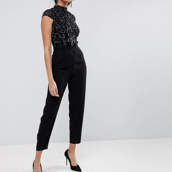 7867010e4d18 ASOS Pants - ASOS. Women s Black Embellished Lace Top Jumpsuit